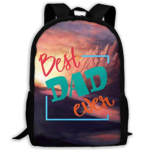 Best Dad Ever Large Capacity Travel Notebook Computer Backpack, Adult Printed Backpack, Anti Splash Student School Backpack