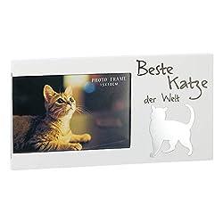 Kamaca Bilderrahmen Fotorahmen aus Holz und Glas tolles Geschenk für Katzenliebhaber für Fotos 15x10 cm (Beste Katze der Welt)