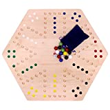 AmishToyBox.com Aggravation Game Board Set - 24' Wide - Maple Wood - Double-sided - with Large 22mm Marbles and Dice Included