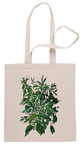 Rundi Verde E Nero, Estate Vegetazione, Floreale Arte, Pastello Disegno Borse per La Spesa Shopping Bag Beige