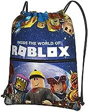 Roblox Rugzak met trekkoord met ritssluiting, waterdichte gymtas, schooltas, schooltas, dagelijkse rugzak, reizen zwemtas, kinderen, meisjes, jongens