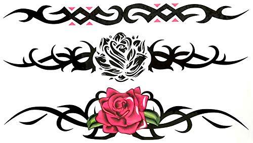 EROSPA® Tattoo-Bogen Sticker temporär - Flower Blumen Rosen Triabal