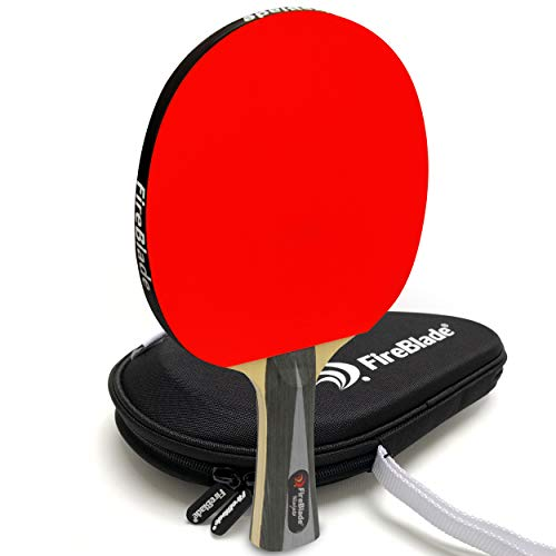 Photo of FireBlade 'Ninjato' – Carbon ITTF Table Tennis Bat with Case – 5-ply wood & 2-ply carbon – Ping Pong Racket Paddle – ITTF Rubber – Comfortable Handle – Includes Bat Case (Hard Eva Case)