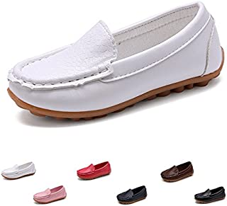 SOFMUO Boys Girls Leather Loafers Slip-On Oxford Flats Boat Dress Schooling Daily Walking Shoes(Toddler/Little Kids)