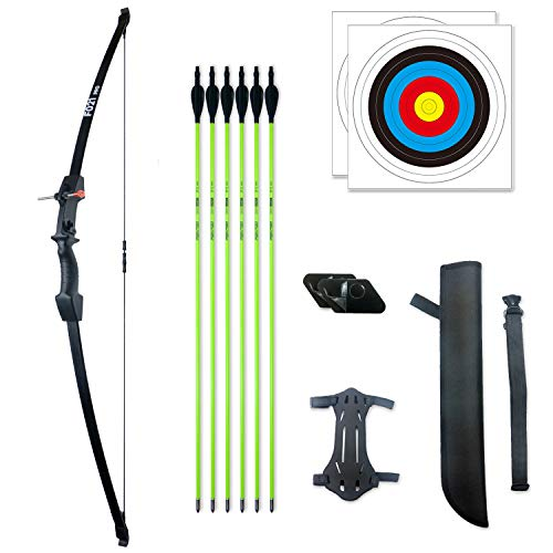 Pointdo 45  Archery Recurve Bow and Arrow Set for Kids Archery Beginner Gift and 18lbs for Teens (Black)