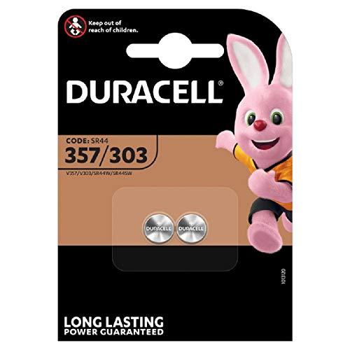 Pile oxyde d'argent Duracell spéciale 357/303 1,55V, pack de 2 (SR44 / V357/ V303 / SR44W / SR44SW) conçue pour une utilisation dans les montres, calculatrices et dispositifs médicaux