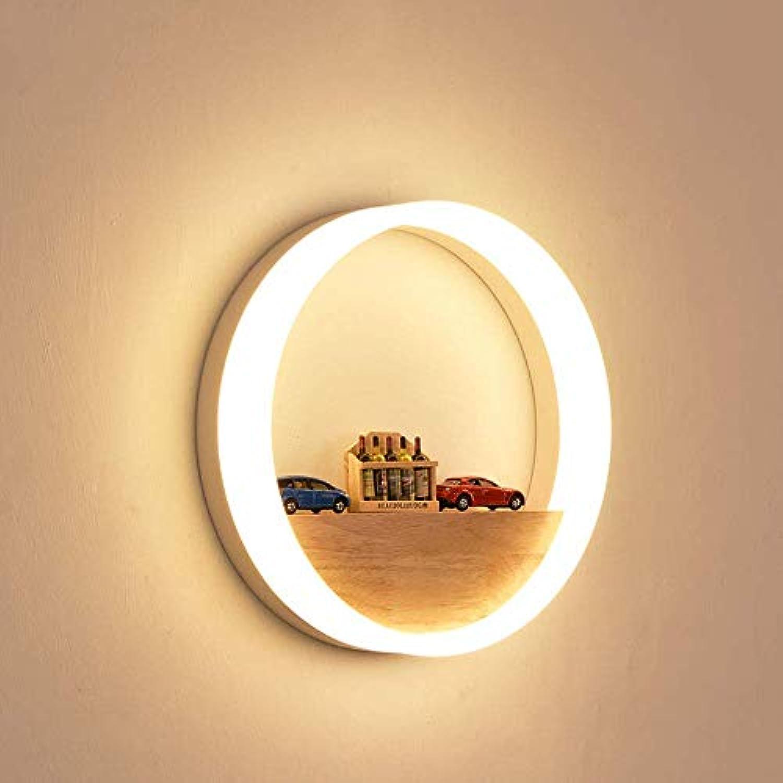 12W LED Rund Wandleuchte Weiss Eisen Acryl Wandlampe Innen Holz Lampe Ring Design Warmwei Licht Nachttischlampe für Wohnzimmer Schlafzimmer Kinderzimmer (Nein Dekorativ)