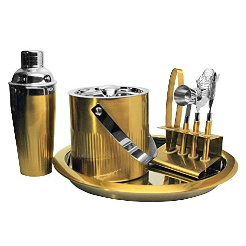 Connaught Place Collection 7 Piece Premium Bartender Kit Bar Set For Professional and Amateur Drink Makers Gold/Silver
