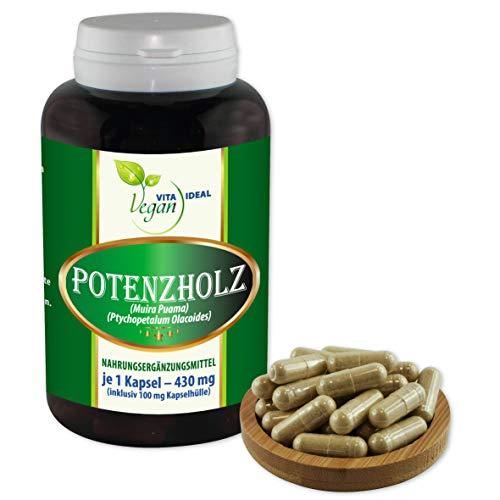 VITAIDEAL VEGAN® Potenzholz (Muira puama) 90 Kapseln je 430mg, rein natürlich ohne Zusatzstoffe.