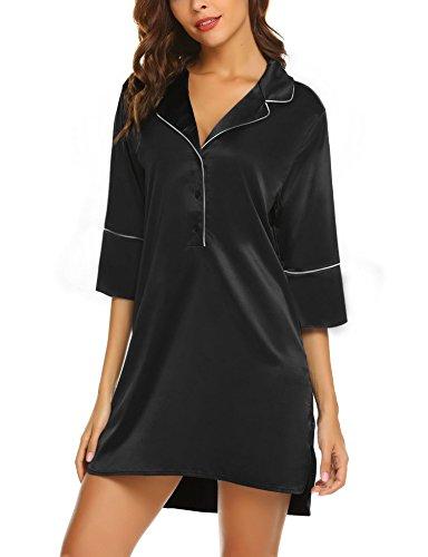Ekouaer Womens V Neck 3/4 Sleeve Nightgown Sleepwear Summer Slip Night Dress