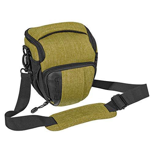 PEDEA DSLR-Kameratasche Fashion Fototasche für Spiegelreflexkameras mit wasserdichtem Regenschutz, Tragegurt und Zubehörfächern (Größe M, grün)