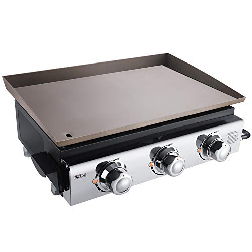 TACKLIFE Portable Propane Gas Grill, 23 in Tabletop Griddle with 3 Burners, Stainless Steel Ideal for Outdoor Cooking, Camping, Tailgating or Picnicking