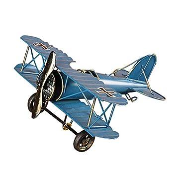 M Joy Vintage Airplane Model-Metal Aircraft Biplane Home Decor Ornametal Handicraft Kids Toy Model,Christmas,Souvenir,Ornament,Desktop Decoration  Blue