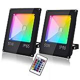 Hengda Foco RGB LED 2 x 50W Foco Colores con Control Remoto Luz Ajustable 16 Colores y 4 Modos Foco Led Exterior IP65 Impermeable Decoración Fiesta Jardín Hotel