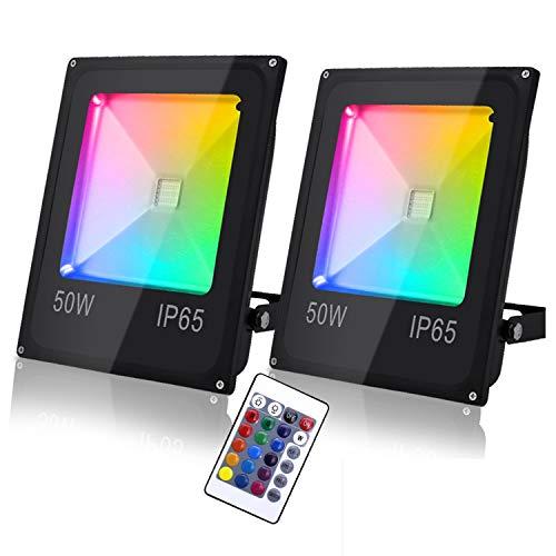Hengda 2er 50W RGB LED Strahler Fluter Außen 16 Farben 4 Modi Farbig Fluter mit Fernbedienung IP65 Wasserdicht Außenstrahler Garten Stimmungslichter
