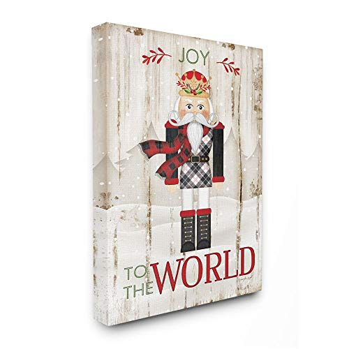 Stupell Industries Joy to The World Quote with Christmas Nutcracker Wall Art, 16 x 20, Tan