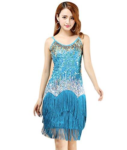 YiJee Donna Lustrino Latino Abito Tango Rumba Valzer Salsa Nappe Costume Danza Da Ballo Blu Chiaro