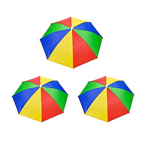 3 Piezas Gorros de Paraguas, Sombrero Paraguas, Paraguas de Cabeza, Paraguas de Cabeza Plegable, para Decoración, Traje, Golf, Ciclismo, Pesca, Jardinería