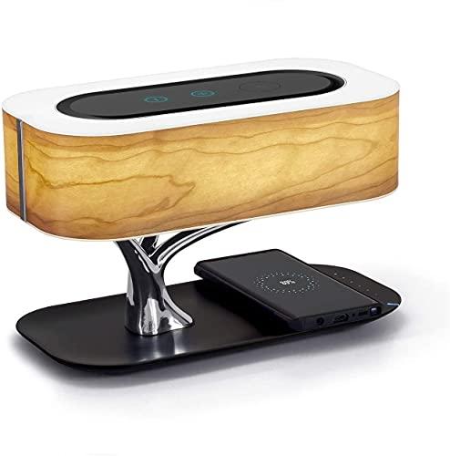 Kacsoo Lámpara de Mesita de Noche, lámpara de Noche con Cargador inalámbrico y Altavoz Bluetooth, Lámpara de Mesita de Noche Control Tactil Regulable para Dormitorio y Estudio