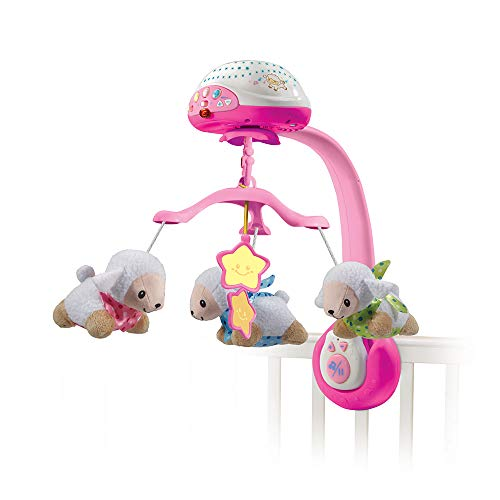 VTech Lullaby Lambs Mobile (Pink), Baby Night Light Projector, Baby Born Cot Toys, Newborn Baby Toys with Lights and Music, Soothing Baby Lights Projector for Boys and Girls Aged 0 Months to 3 Years