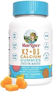 Organic Vegan Vitamin K2+D3 Calcium Gummies (Plant Based) by MaryRuth Chewable, Non-GMO, Gluten Free for Men, Women & Kids (60 Count)