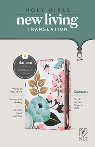NLT Compact Zipper Bible, Filament Enabled Edition (Red Letter, Cloth, Floral Garden)