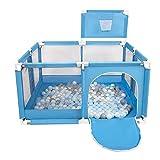 Selonis Parque De Juegos Con Canasta Y 100 Bolas Para Niños, Azul:Perla/Gris/Transparente/Babyblue/Menta
