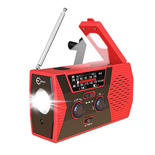 [2020 Upgraded Version] Esky Emergency Solar Hand Crank Radio, NOAA Weather Radio for Emergency with AM/FM, LED Flashlight, Reading Lamp, 2000mAh Power Bank and SOS Alarm