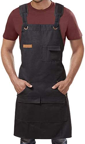 Canvas Apron for Men Cross Back Professional Black Apron for Cooking BBQ Woodworking Welding product image