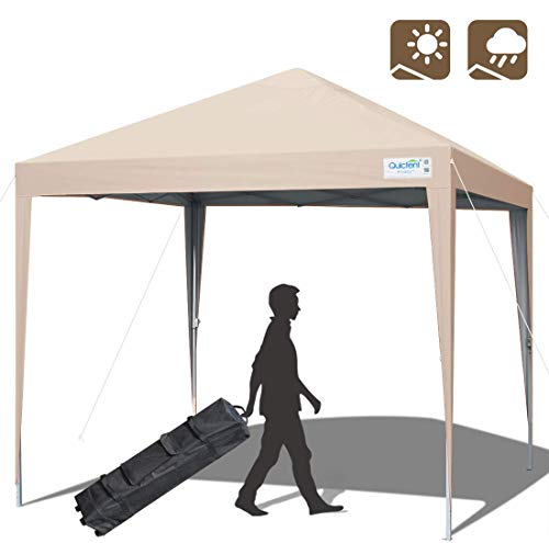 Quictent Upgraded 10x10 Ez Pop up Canopy Tent Portable Gazebo Outdoor Instant Canopy Shelter Waterproof with Wheeled Carry Bag -Beige