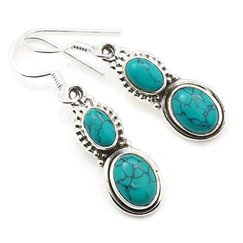 Ohrringe Ohrhänger Silber 925 Sterlingsilber Türkis blau grün Stein (Nr: MOH 117-15)
