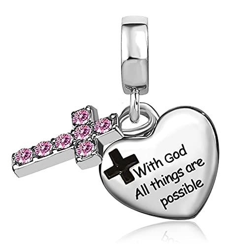 JMQJewelry Cross Religious Charms for Bracelets Praying hands Christian God Birthday Birthstone October Pink Purple Family Grandma Christmas Valentine's Mother's Jewelry 2021