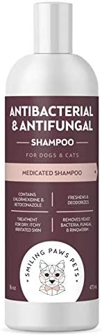 Antibacterial & Antifungal Shampoo For Dogs & Cats – Contains Ketoconazole & Chlorhexidine - Dog Skin Yeast Infection Treatment - Effective Against Ringworm, Pyoderma, Bacteria & Fungus. 16oz