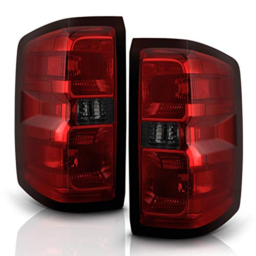 ACANII - For [Incandescent Model Only] 2014-2018 Chevy Silverado 1500 2500HD 3500HD Red Smoked Tail Lights Brake Lamps