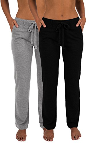Sexy Basics Women's 2 Pack Ultra Soft French Terry Cotton Drawstring Yoga Lounge Long Pants (2 Pack- Black & Grey, Medium)