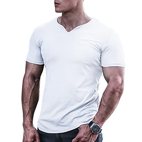 Magliette e t-Shirt atletiche per Bodybuilding da Uomo Quick Dry Muscle T-Shirt da Allenamento in Rete a Maniche Corte Bianca M