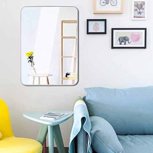 Egleson Espejo grande de 50 x 70 cm con marco de metal plateado para cuarto de baño, espejo colgante HD para sala de estar, dormitorio de niños