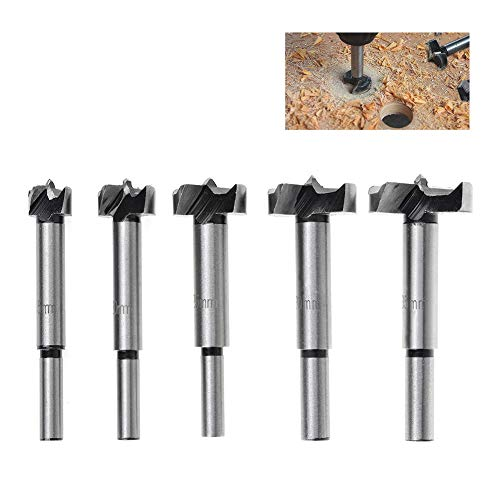 QLOUNI 5Pack Forstner Drill Bits Sets/15-35mm high Carbon Steel Long Round Shank Hinge Hole Cutter Drill Bit Set for Wood Plastic Plywood