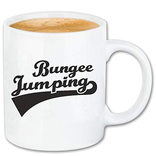 Reifen-Markt Kaffeetasse BUNGEE JUMPING - BUNGEESPRUNG - BUNGEE SEIL - BUNGEE GUTSCHEIN - BUNGEE SPRINGER Keramik 330 ml in Weiß