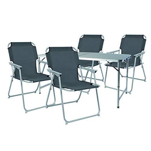 Mojawo 5-teiliges Campingmöbel Set Alu 120x60x58/70cm 1x XXL Campingtisch mit Tragegriff + 4 Campingstühle Anthrazit Stoff Oxfort
