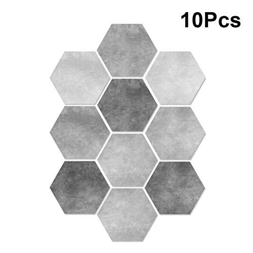 VOSAREA 10 stücke Fliesen Aufkleber Hexagon Zement Wirkung Bodenaufkleber Fliesen Wanddekor Wasserdicht Kein Überspringen DIY Küche Badezimmer Fliesen Aufkleber