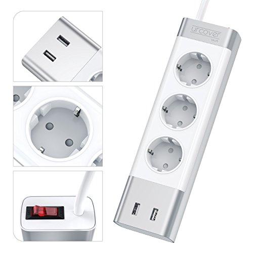 Urcover® Mehrfachstecker mit 2X USB Anschlüssen | Dreifach Steckerleiste inkl. Auto-Detect und Überspannungsschutz | 2m Kabel | Wandmontage geeignet | Silber - Aluminium | Elegante Steckdosenleiste