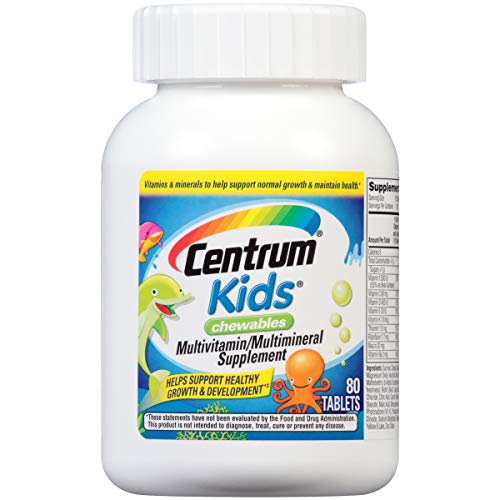 Centrum Chewable Multivitamin for Kids, Multivitamin/Multimineral Supplement with Antioxidants and Vitamins C and E, Cherry/Orange/Fruit Punch Flavor - 80 Count