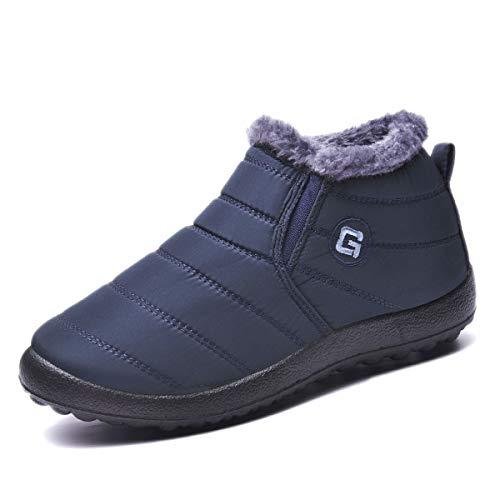 Ginjang Women Winter Snow Boots Warm Ankle Boots Anti-Slip Waterproof Winter Shoes Slip On Booties Sneakers (39/Blue)