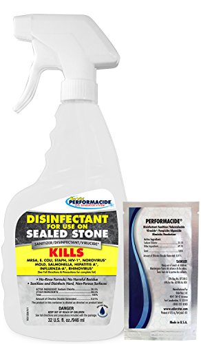 Performacide Disinfectant Kit for Sealed Stone - Kills Human 229E (HCoV-229E), NoroVirus, Influenza-A - 32 Oz. Kit No Rinse, No Wipe, No Residue