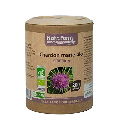 Chardon Marie BIO   Complément Alimentaire 200 gélules Vegan   DIGESTION, Confort & Vitalité du FOIE   100% Origine Naturelle   Fabrication Française Nat&Form