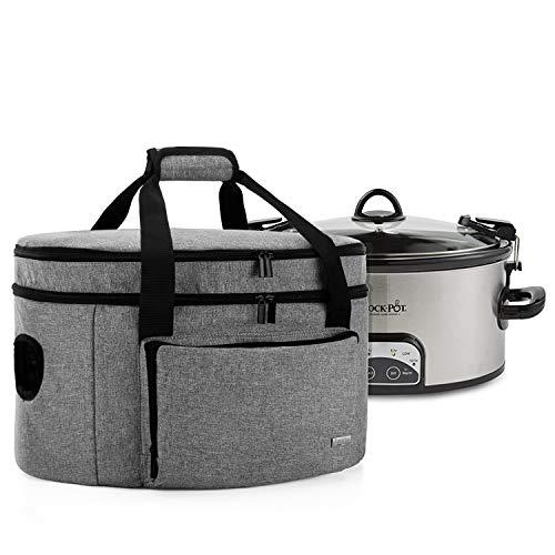 Luxja Doppelschicht Schongarer Tragetasche, Aufbewahrungstasche für Slow Cooker, Reisetasche is Kompatibel mit 5,6-7,5 L Crock Pot und Anderen Ovalen Schongarer, Grau