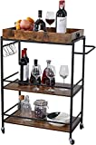 Bar Serving Cart Home Mobile Kitchen Serving cart on Wheels 3-Tier Wine Cart with Storage,Removable Tray, Industrial Vintage Style Wood Metal Serving Trolley