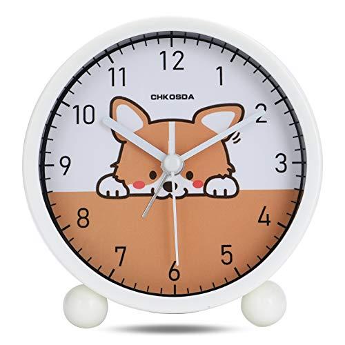 Lafocuse 10cm Despertador Infantil Crema Corgi Analógico Lindo Perro Reloj de Mesa Divertidos Silencioso para Mesilla Dormitorio Cuarto de Niños