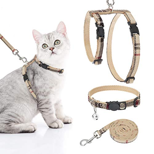 Cat Harness with Leash and Collar Set – Escape Proof Vest Harness with Breakaway Collar for Walking Outdoor Adjustable…